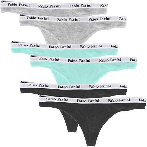 Fabio Farini Tangas de Encaje Fino en Paquete de Seis, 95% algodón, Colour:Multicolore;Talla:40 (ES) /36 (DE)
