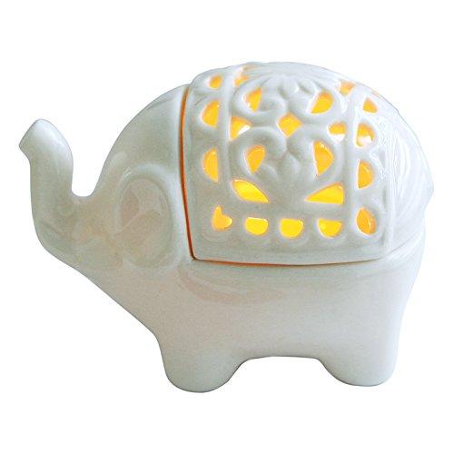 MyGift décoratif éléphant Blanc ajouré en céramique Motif thé léger Bougeoir