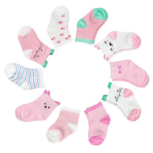 YSense Bebé Calcetines Niña,10 Pares de Calcetines Antideslizantes,Lindos Calcetines de Algodón para Niñas de 1 a 3 años