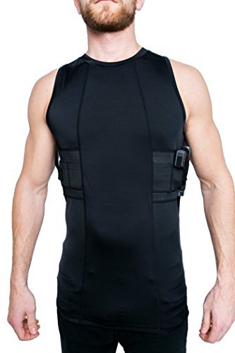 GrayStone Holster Tank Top Shirt Concealed Carry Clothing For Men - Easy Reach Gun Concealment Compression CCW Vest Tactical Clothes, Black, Large