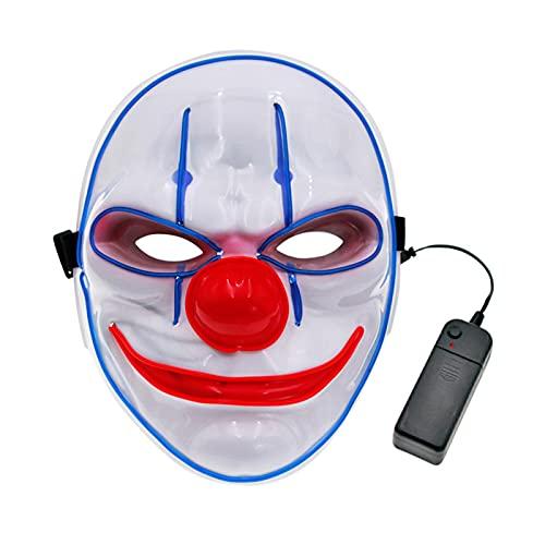 Bestshop Máscara LED De Halloween - Máscara Facial De Payaso LED Máscaras Iluminadas De Halloween Disfraz De Cosplay De Halloween Sombrero para Fiesta De Halloween, Cumpleaños, Navidad, Carnaval