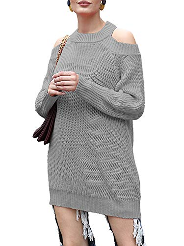 Read About Leepus Women Sweater Solid Color Off-The-Shoulder Long Sleeve Open Back Ribbed Loose Casual Streetwear Grey