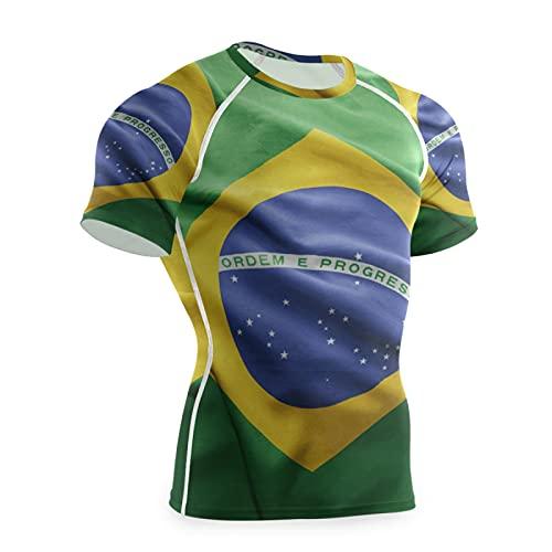 Magnesis Camiseta de compresión de manga corta para hombre con bandera de Brasil