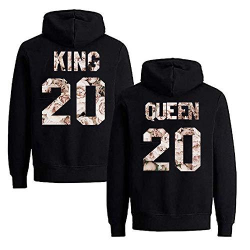 Daisy for U 2020 Neu Pärchen Hoodie King Queen Pullover 1 Stücke-Schwarz-Weiße Rose-King-XL