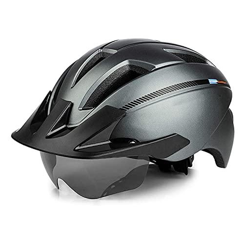 Casco con gafas magnéticas y visera desmontable y luz de seguridad recargable, ajustable, para bicicleta de carretera, montaña, adultos, casco de bicicleta para hombres y mujeres (color: B)
