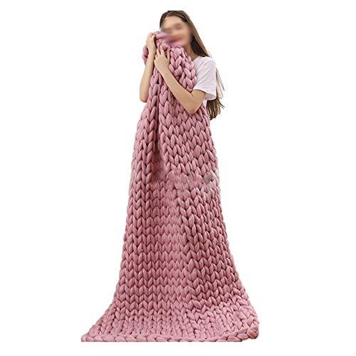 ZWDM Decke Gestrickte Grobe Strickdecke Wolle Garn Handgefertigt Haustier Bett Stuhl Sofa Super Große Arm Stricken Sperrig Decke Zuhause Dekor Geschenk (Color : Dark pink, Size : 150x180cm)