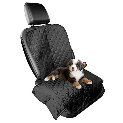 Furhaven Pet Furniture Cover - Universal Water-Resistant Quilted Car Bucket Seat Cover Protector for Dogs and Cats, Black, Single-Seat