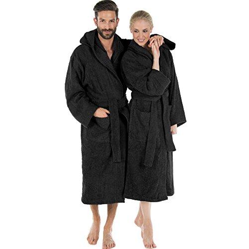 CelinaTex Montana Bademantel mit Kapuze XL schwarz Baumwolle Morgenmantel Frottee Damen Herren Saunamantel
