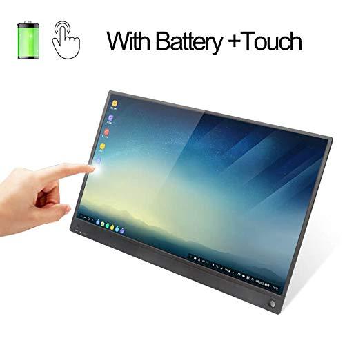 JDLP C HDMI Monitor de Pantalla táctil 15.6inch de la batería del Monitor táctil portátil USB para Samsung Dex, Huawei EMUI, Ordenador portátil, Switch, PS4,Gray Touch