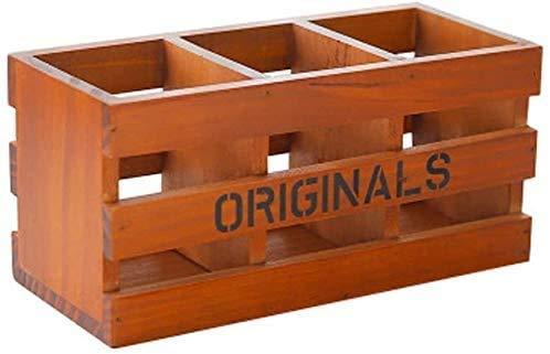 LEIXIN Bagage Trois Grille Pen, Rétro boîte en Bois, Bureau en Bois cosmétiques boîte de Rangement, boîte de Rangement à Distance cosmétiques boîte de Rangement (Couleur: Couleur Retro)