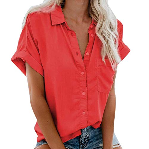 Blingko Damen Bluse Einfarbig Hemd Oberteile V-Ausschnitt Lose Casual T-Shirt Top Kurzarm Tunika Elegant Locker Sommer Hemdbluse Frauen Oberteile Hemd Oversize (Rot, M)