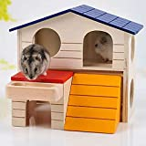 CUIFULI Casa de hámster de madera pequeña escondite animal plegable plataforma escalada escalera diapositiva cabaña jugar juguetes para ardilla ratón rata erizo