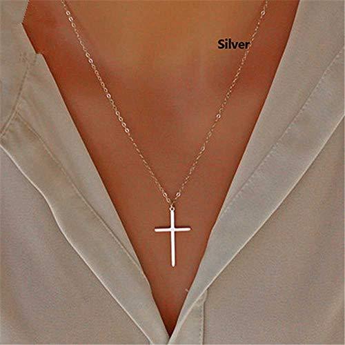 Jovono Collier à la mode pendentif croix chaîne de bijoux pour femmes et filles (Argent)