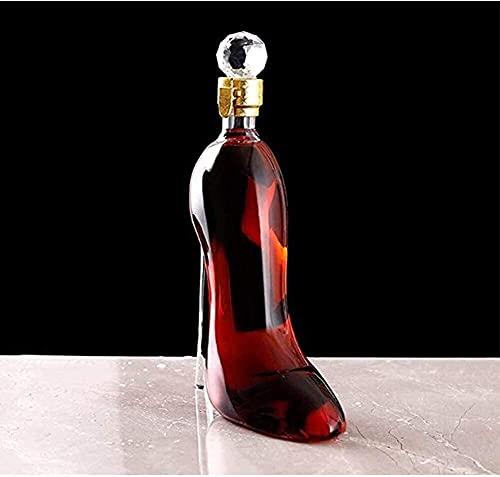 YHQKJ Vasos de Whisky Decantador de Whisky, decantador de vinos con un tapón de Diamante hermético, Botella de Cristal de tacón Alto soplado a Mano para Vino o Licor (Size : 350mL)