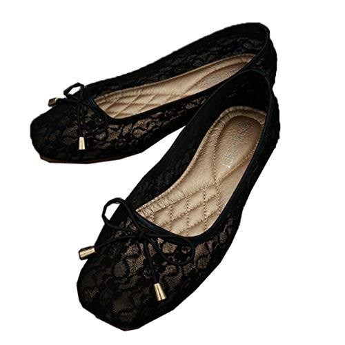 Vrouwen Lace Ballet Flats Sweet Bowknot Instappers Loafers Zomer Casual Mesh Bootschoenen Ademend Ondiepe Mond Enkele Schoenen