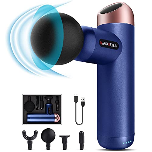 Mini Massagepistole,Elektrisch Muscle Massage Gun mit 90-Tägiger Standby-Zeit,Tragbar Vibrationsmassagegerät 4Köpfen 4Geschwindigkeiten, Leise HandMassagegerät Tiefengewebe für Nacken Rücken(Blau)