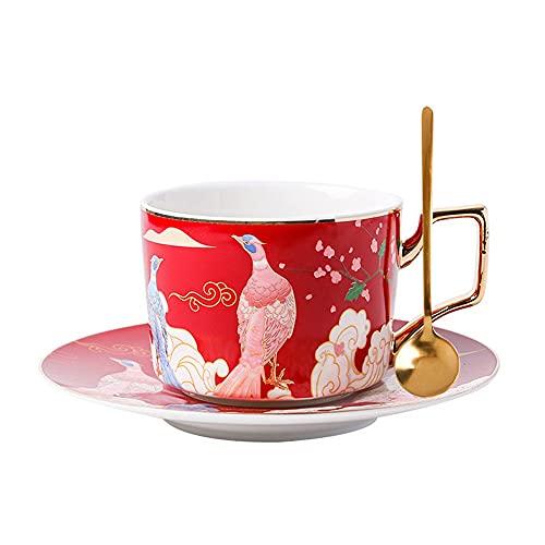 SXXYTCWL Copa de café Copa de cerámica Platillo de Cucharada Set Latte Cup Coffee Latte Cup Taza Taza Taza de Agua Taza de té Adecuado para el Restaurante Gift Office Home (Color : Rojo)