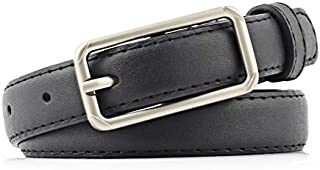 SGJFZD New Women's Buckle PU Imitation Fashionable Leather Thin Belt Women's Fashion Solid Color Belt Casual Belt (Color : Black, Size : 110cm)