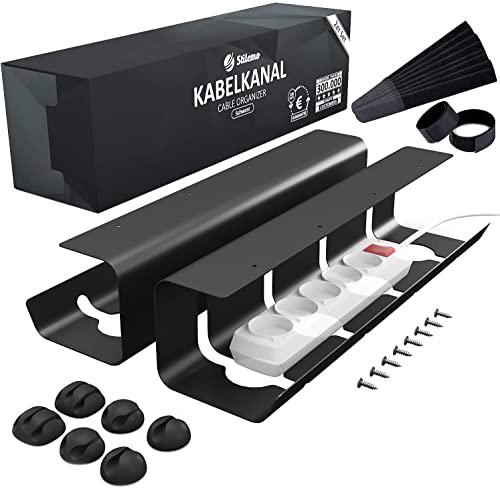 Bandeja organizador cables escritorio de Stilemo - Juego de 2 Bandejas Gestión de cable Ultra Resistente, Soporta 5kg - Mantener los cables ordenados - Diseño minimalista para Oficina
