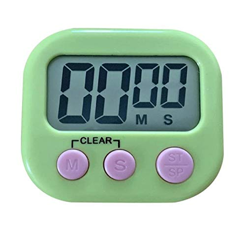 XKMY 1 temporizador digital de cocina mini LCD de dígitos grandes, alarma magnética con soporte de cuenta atrás para cocinar hornear, juegos deportivos, temporizador de cocina (color 1 unidad verde)