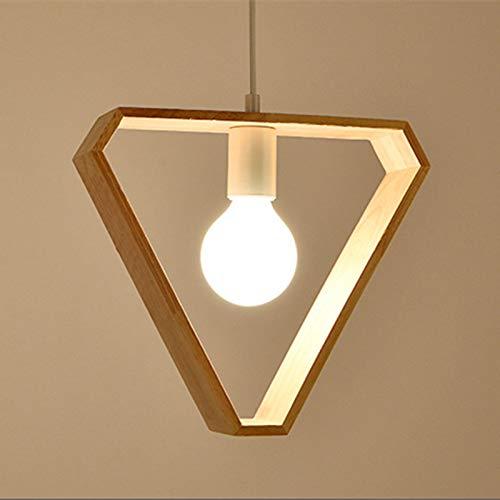 Moderna Luz Colgante Lámpara de Techo, E27 Retro Lámpara de Techo Iluminación Decorativa, Iluminación Colgante de Madera Clásica para Restaurante Coffee Bar (Triángulo)