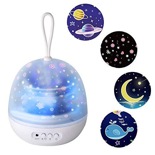Lixada LEDs nachtlampje baby sterren lamp, 360 ° draaibaar 8 kleurenmodi sterrenmaan, oceaan/universum/carrousel 4 in 1 projectorlamp