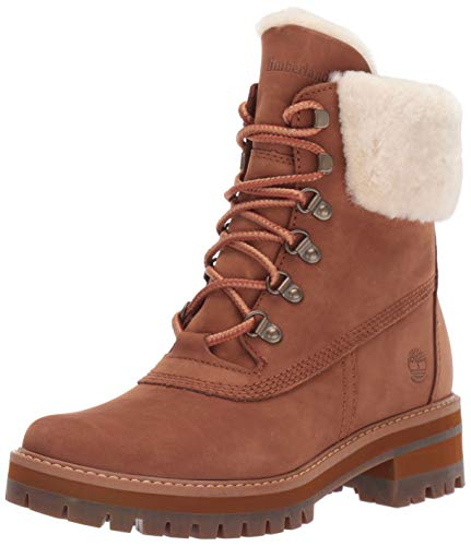 Timberland Women's Courmayeur Valley WP 6in with Shearling, Medium Brown Nubuck, 7.5 M US