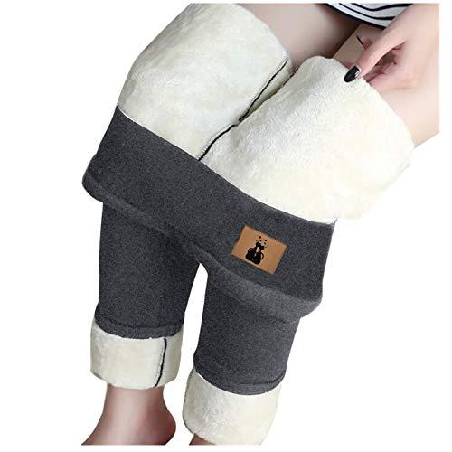 Vexiangni Leggings para mujer gruesos de cachemira con estampado de lana de terciopelo, para invierno, cálidos y gruesos, pantalones de algodón, cintura alta, pantalones cálidos de algodón, gris, XXL