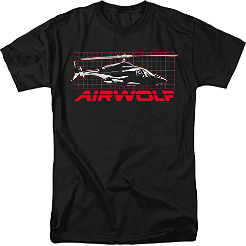 Official Airwolf 80s Grid, Copter and Red Logo T-shirt, S to 3XL