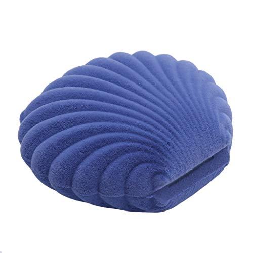 Fliyeong - Caja de Regalo de Terciopelo con Forma de Concha, Color Azul