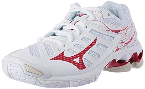 Mizuno Wave Voltage, Zapatillas Deportivas Mujer, White/PersianRed/WSand, 37 EU