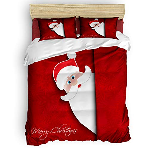 Bedding Duvet Cover Set Queen Size 4 Pieces 1 Duvet Cover 1 Flat Sheet 2 Pillowcases Breathable All Season Cute Santa Claus Red Texture Background Chritmas Comforter Cover Set for Kids Boys Girls