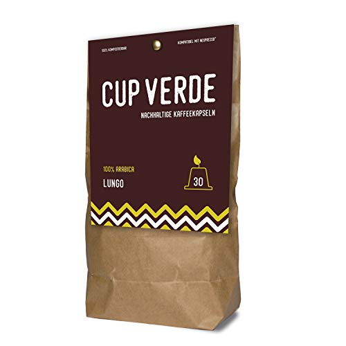 CUP VERDE – 30 nachhaltige Kaffeekapseln Nespresso* kompatibel. Kompostierbar– fair gehandelt - schonend geröstet, kräftiger Geschmack - wenig Verpackung. Kaffee Lungo