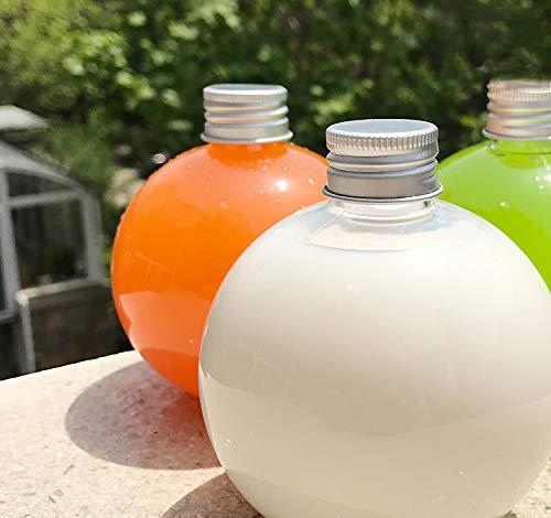 200ml Lamp Plastic Transparent Bottle Bulb Milk Juice Beverage with Straw 10PCS (Spheric 150ml)