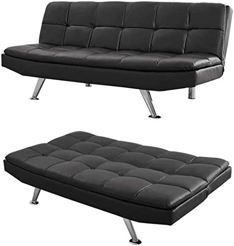 YRRA 3 Seater Sofa Bed Fabric Sofa Bed Or Faux Leather Sofa Bed with Chrome Legs Click Clack Sofa Couch (Grey Fabric As Bed 172cm x 98cm)-Black Faux Leather_As Bed 172cm x 98cm
