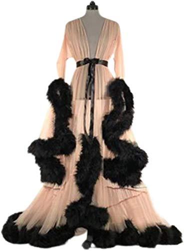 HYISHION Sexy Dessous Nachtwäsche Durchsichtige Feder Brautkleid Frauen, Morgenmantel Nachtwäsche Sexy Dessous, Robe Extra Langes Nachthemd,Beige