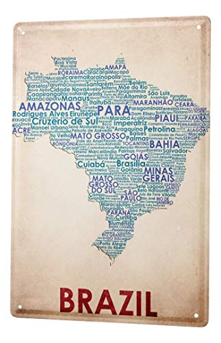LEotiE SINCE 2004 Blechschild Dekoschild Küche Garage Welt Reise Kartenausschnitt Brasilien Wand Deko Schild 20X30 cm
