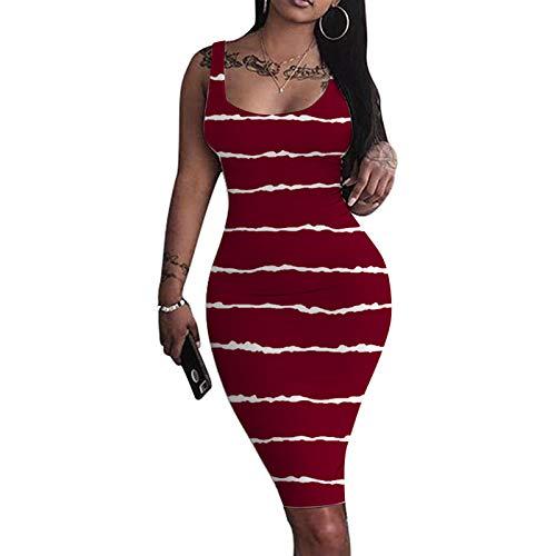 ZYZS Vestido de mujer con corte en U, tirantes finos, minivestido, vestido de fiesta, vestido de noche, vestido de ocio, bodycon, vestido de cóctel sin mangas, vestido formal 08#vino XXL