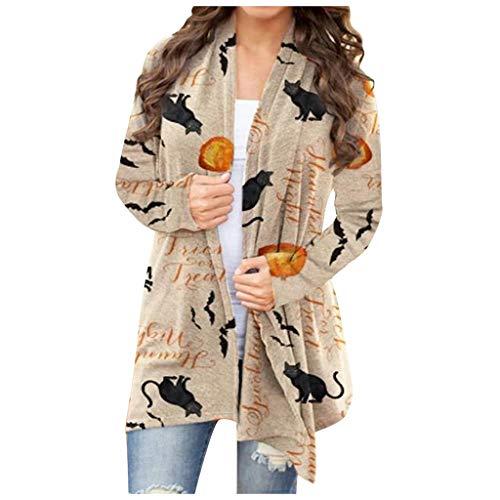 GDJGTA Women's Halloween Pumpkin Animal Cat Print Cardigan Coat Long Sleeve Outwear Open Front Sweater Jacket Coats
