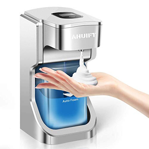 AHUIFT Automatischer Seifenspender Elektrischer Schaumseifenspender 500 ml Infrarot-Bewegungssensor Wand-LCD-Bildschirm für die Küche im Badezimmer