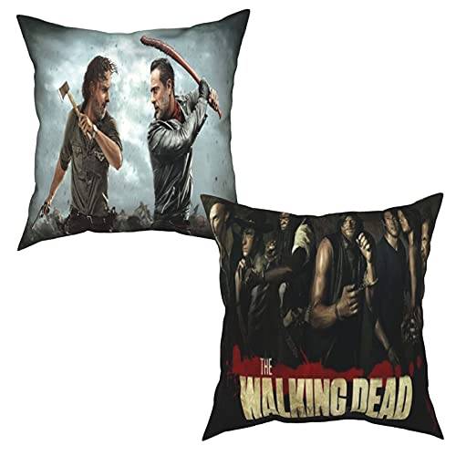 UIKKUD The Walking Dead Pillow 2PS Polyester Pillow Cases Home Decor Decorations Square Soft Throw Pillow Covers for Car Bed Bedroom Sofa 16'x16'