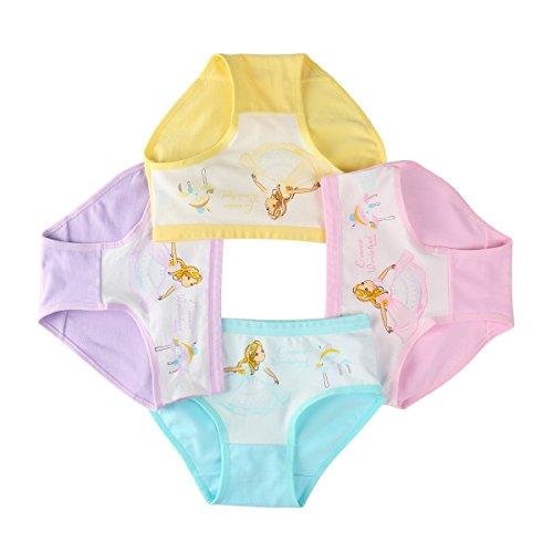 FAIRYRAIN FAIRYRAIN 4 Packung Baby Kleinkind Schönheit Prinzessin Baumwollunterhosen Pantys Hipster Shorts Spitze Unterwäsche 2-4 Jahre