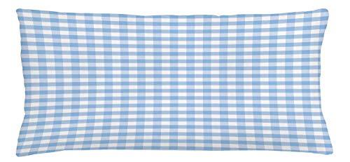 Bue Time Dekokissen Abdeckung, kleine Quadrate und Streifen Pastell Farbe Gingham Zeilen Vintage Fliese Kissenbezug hellblau weiß zu wiederholen