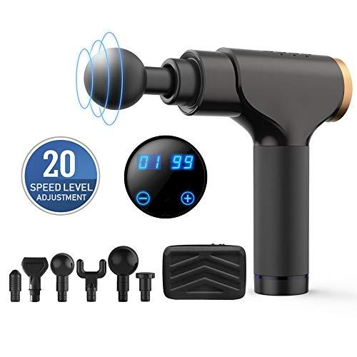 Preisvergleich Produktbild DODOBD Tiefengewebe Massage Gun, Massagepistole mit 20 Geschwindigkeiten und 6 Massageköpfen,  Leise Bürstenloser Motor, Massage Gun Gerät Zur Schmerzlinderung und Entspannen