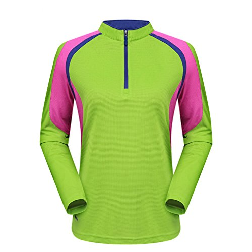 emansmoer Femmes Manches Longues Outdoor Quick Dry Wicking Tee Shirt Dames Respirant Pêche Cyclisme Sports Casual T-Shirt 1/4 Zip Up Pullover T-Shirts (Large, Vert)