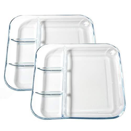 TAMUME 9' Plato de Cristal con Compartimentos para el Aliño, Paquete de 2, Plato Vidrio Templado de Porción de Bola de Masa Hervida, Cuadrado Bandejas para Servir (9')