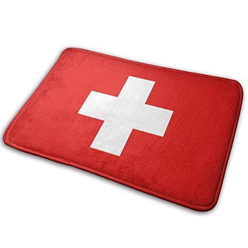 NA Badezimmerteppichmatte Konturteppich Toilettenbodenteppich Flanellbadewannenmatte Rutschfester quadratischer Teppich Schweizer Flagge