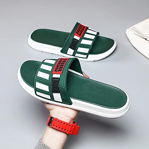 Yumanluo Hombre Verano Zapatillas Flip Flops Sandal Zapatos de Playa y Piscina,Zapatillas casa Pareja Antideslizantes-Verde a_40 / 41
