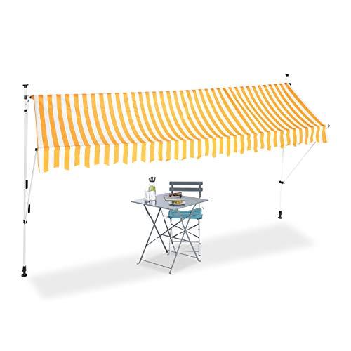 Relaxdays Klemmmarkise, Balkon Sonnenschutz, einziehbar, Fallarm, ohne Bohren, höhenverstellbar, 400 cm breit, gelb gestreift