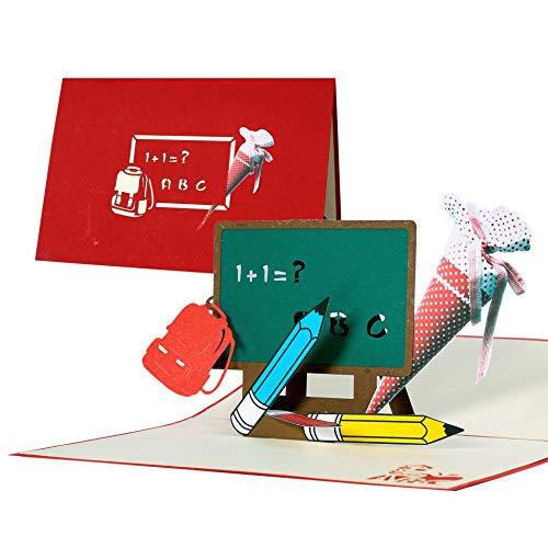 Biglietto auguri 3d per inizio scuola o promozione, ideale come busta portasoldi, compleanno bimbo, taglio al laser con disegno tridimensionale a comparsa, rosso e bianco